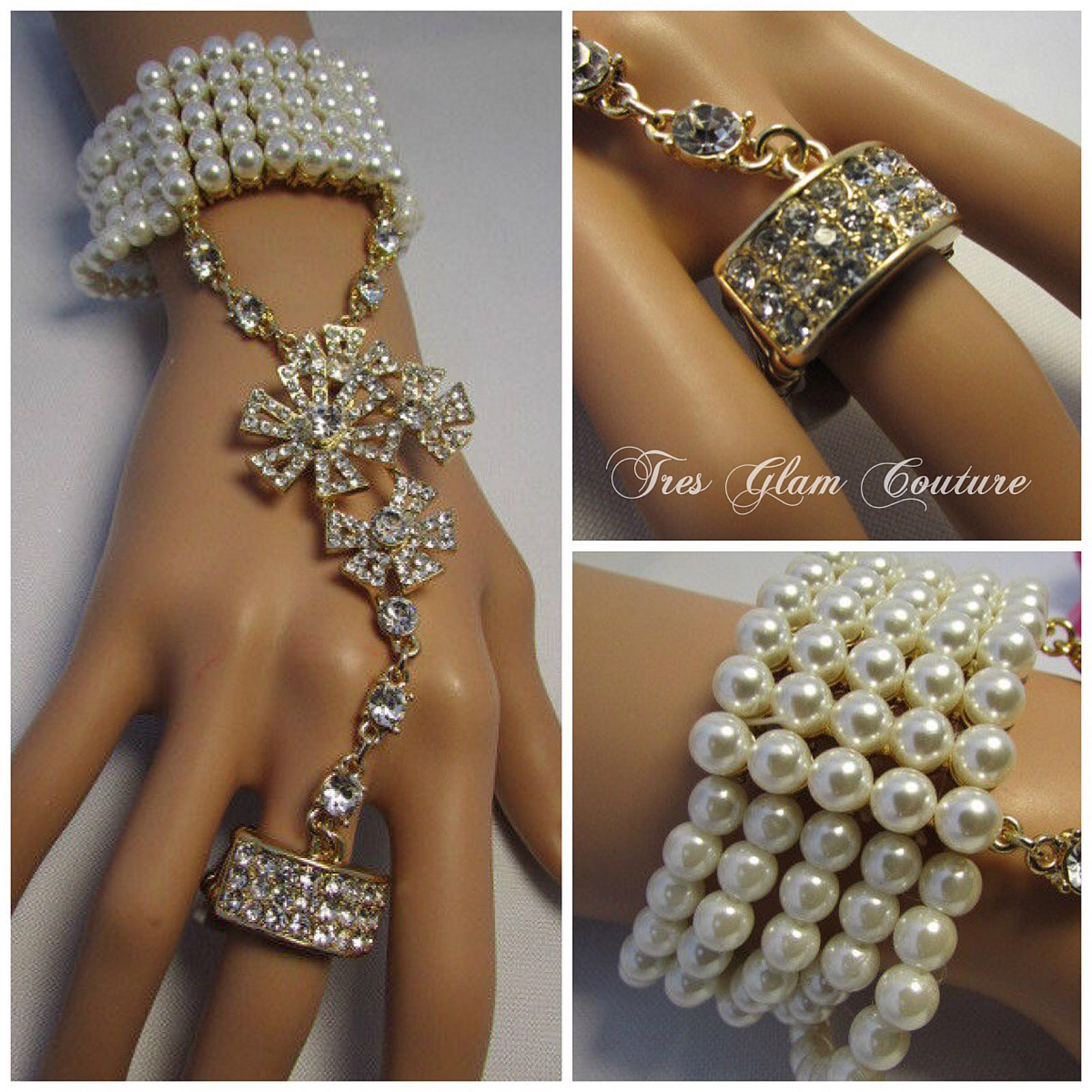 Price $37.00 Pearl and Rhinestone Bracelet Finger Chain. One size fits all .