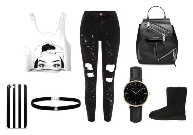 """black and white ness"" by love123love123 ❤ liked on Polyvore featuring River Island, UGG Australia, Marc Jacobs, Amanda Rose Collection and ROSEFIELD"