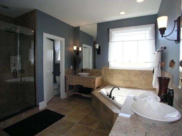 Modern Master Bathroom Retreat Paint Color Is Benjamin
