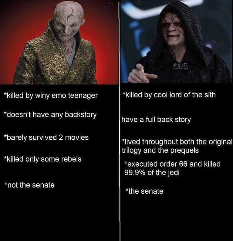 Q What Do You Think Of Darth Sidious In The Rise Of Skywalker Trailer Star Wars Facts Funny Star Wars Memes Star Wars Humor