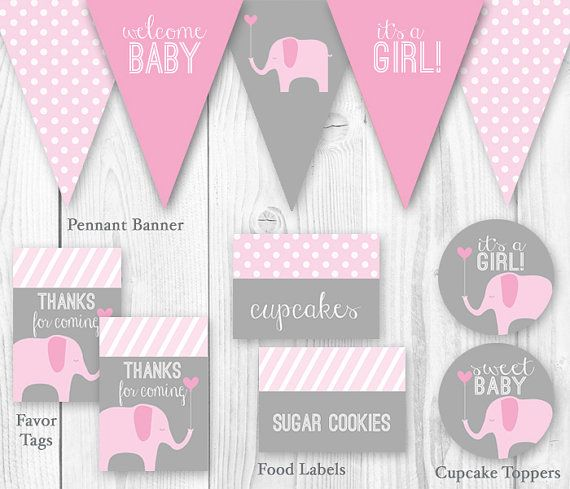 elephant baby shower package  pink  gray. diy printable baby, Baby shower invitation