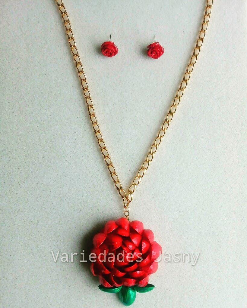 04205bc3e0d3 collar  artesanal  cascara de  pistacho  rosa  roja  25.000 y ...