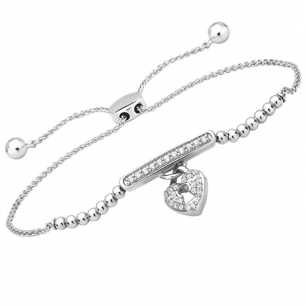 Heart Lock Bolo Adjustable Bracelet 1 4 Ct 14k Diamond Solid White Gold Real 9 Caratsfory Diamond Necklace Designs Diamond Jewelry Earrings Jewelry