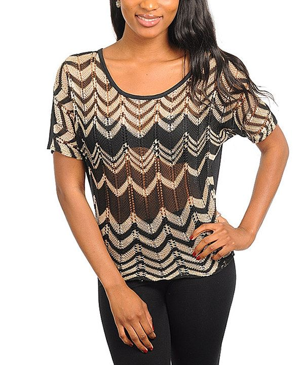 Take a look at this 24|7 Frenzy Black & White Sheer Zigzag Short-Sleeve Sweater on zulily today!
