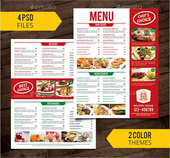 Free Photo Realistic Restaurant Menu Design Templates Latest