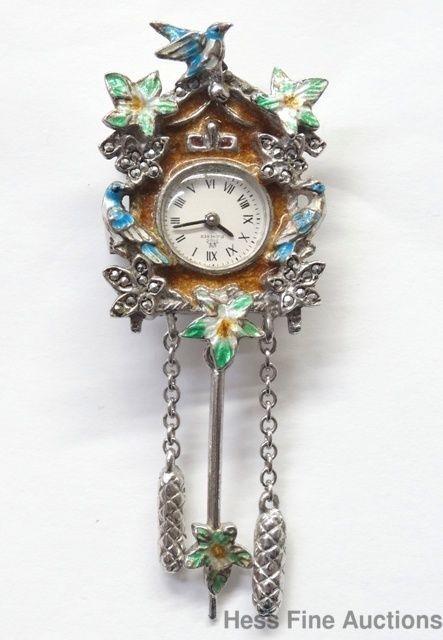Scarce 800 Fine Silver Bucherer Enamel Marcasite 17j Watch Cuckoo Clock Pin Cuckoo Clock Marcasite Fine Silver