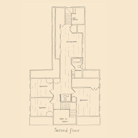 Gambrel House with Center Chimney and Ell Second Floor Plan ...