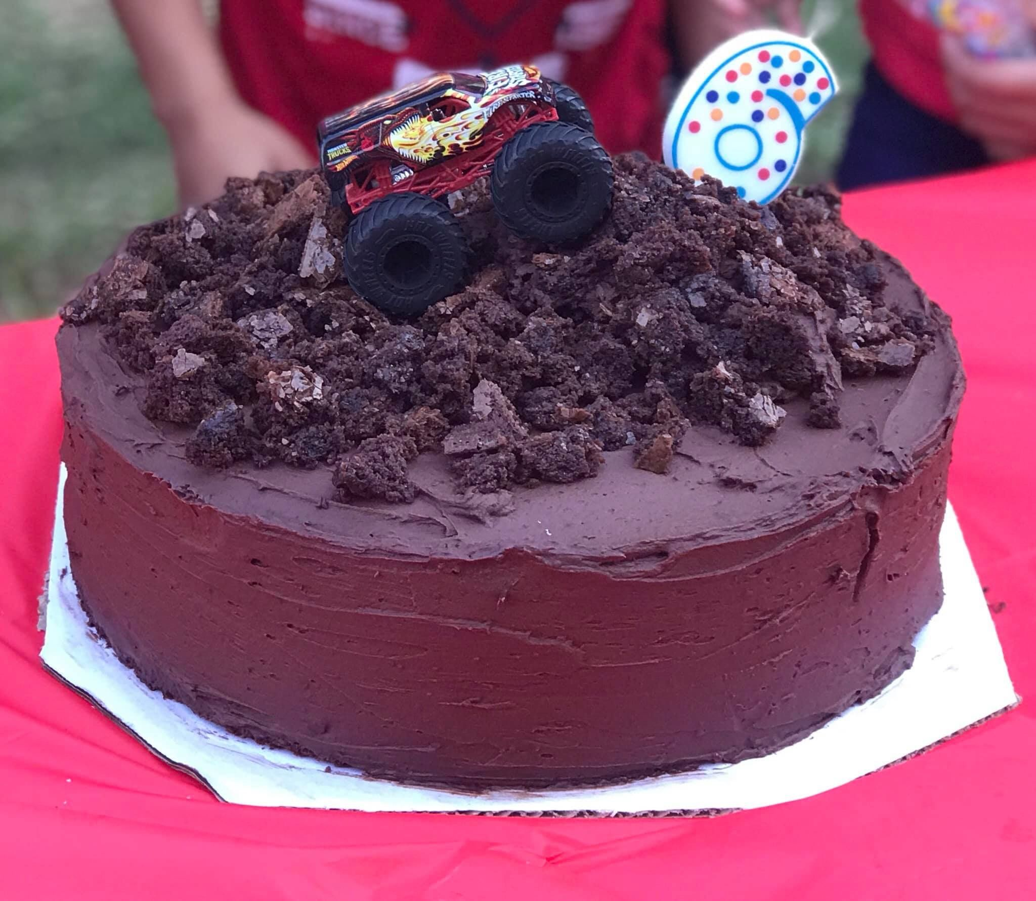 Chocolate monster truck cake i made for my nephews sixth