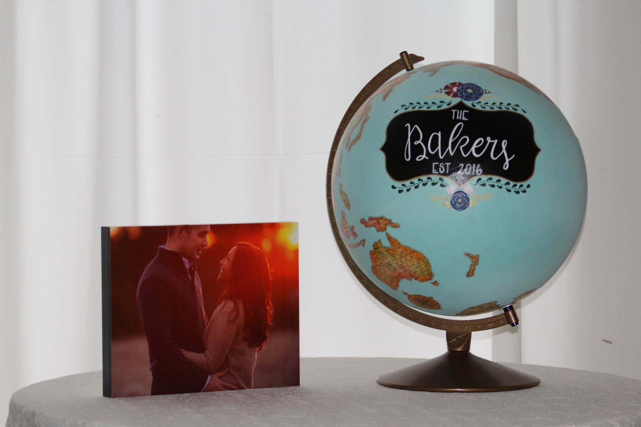 Valerie and David - guest book globe