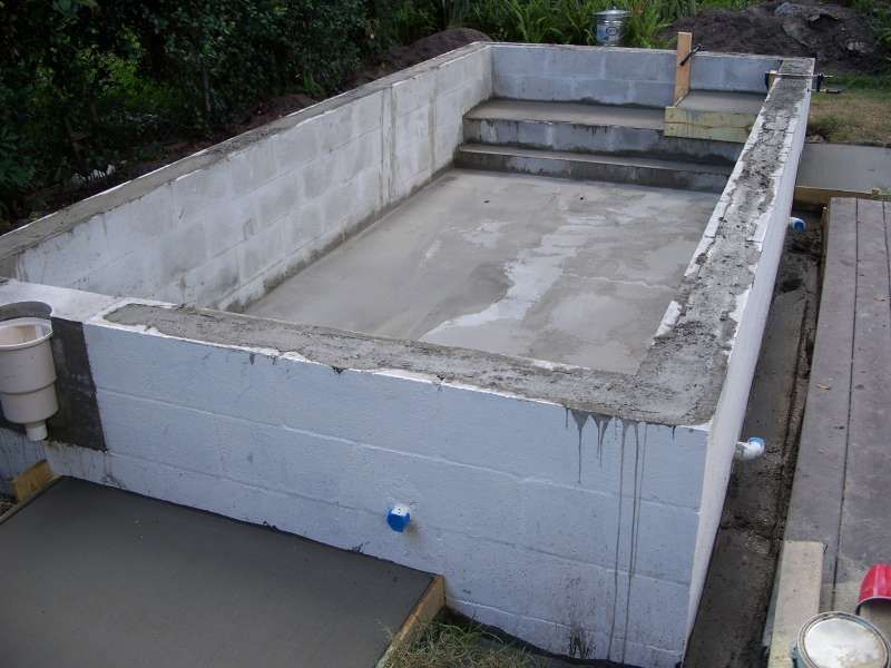 Concrete block pool kits concrete block puppy pool in for Concrete inground pools