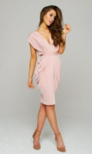 Blush Short Wrap Dress - i would do these as bridesmaids someday. Maybe in a different color.