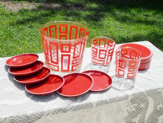 Vintage Glass Bar Set with Coasters Red White by grannysgarage, $36.00