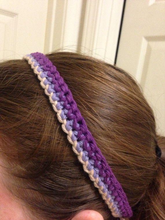 Thin Cotton Crochet Headband -Purple, Lavender, Beige #hair #fashion ...