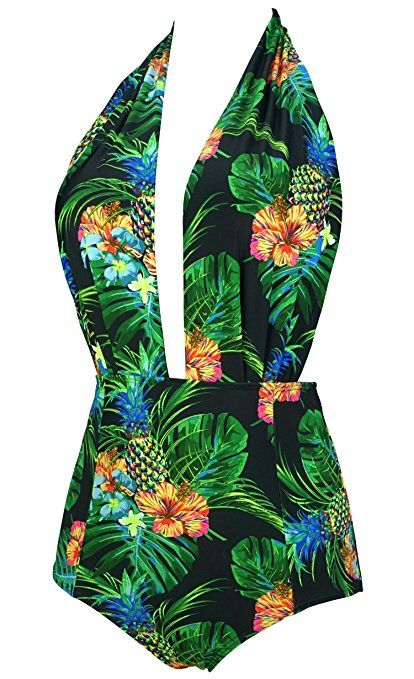 27b80dd65c7a5b COCOSHIP Retro One Piece Backless Bather Swimsuit High Waisted Pin Up  Swimwear(FBA) at Amazon Women's Clothing store: