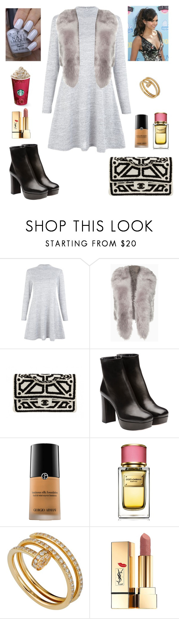 """Untitled #183"" by leah93-1 ❤ liked on Polyvore featuring New Look, Chanel, Miu Miu, OPI, Giorgio Armani, Dolce&Gabbana, Cartier and Yves Saint Laurent"