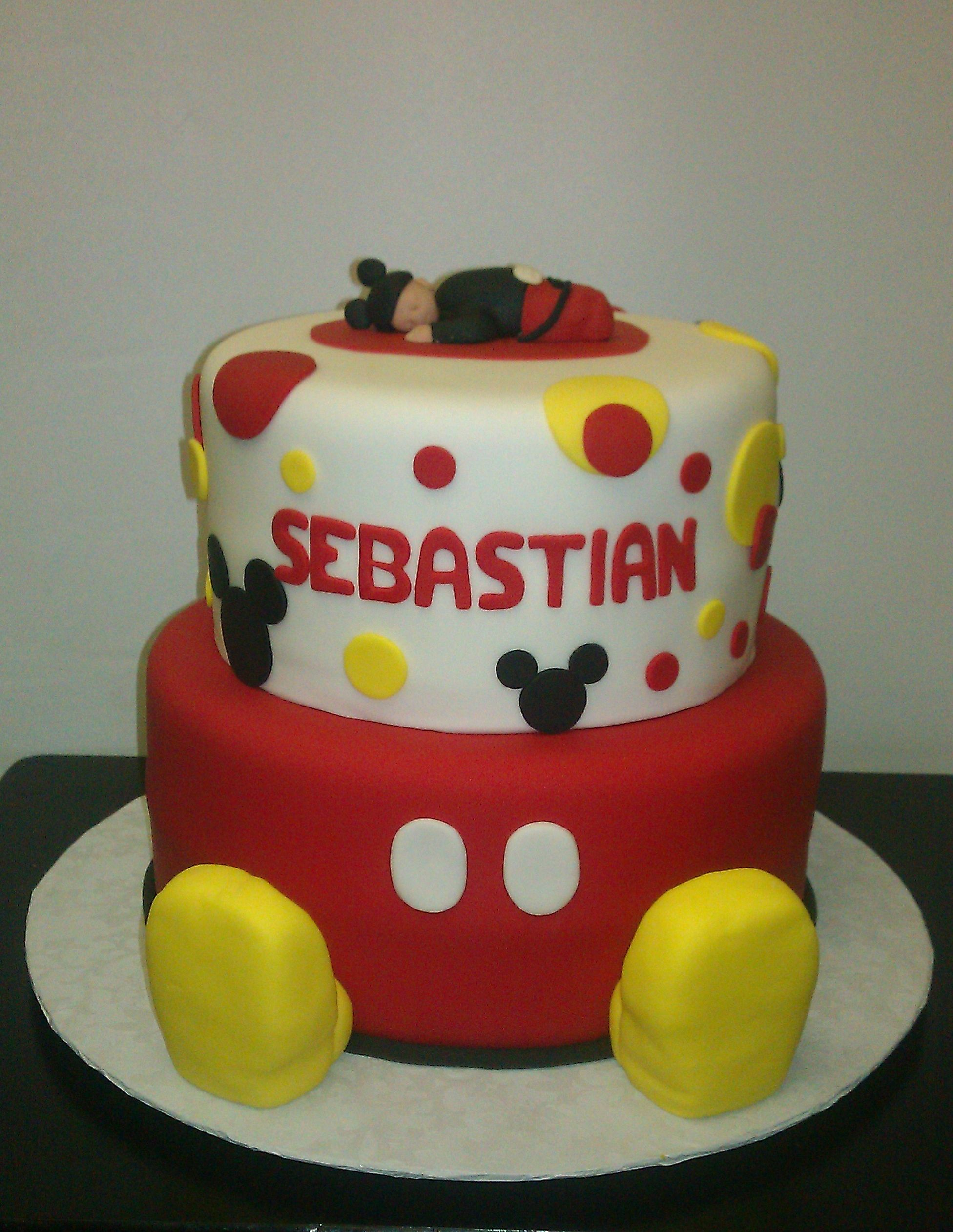 Attractive Mickey Mouse Baby Shower Cake
