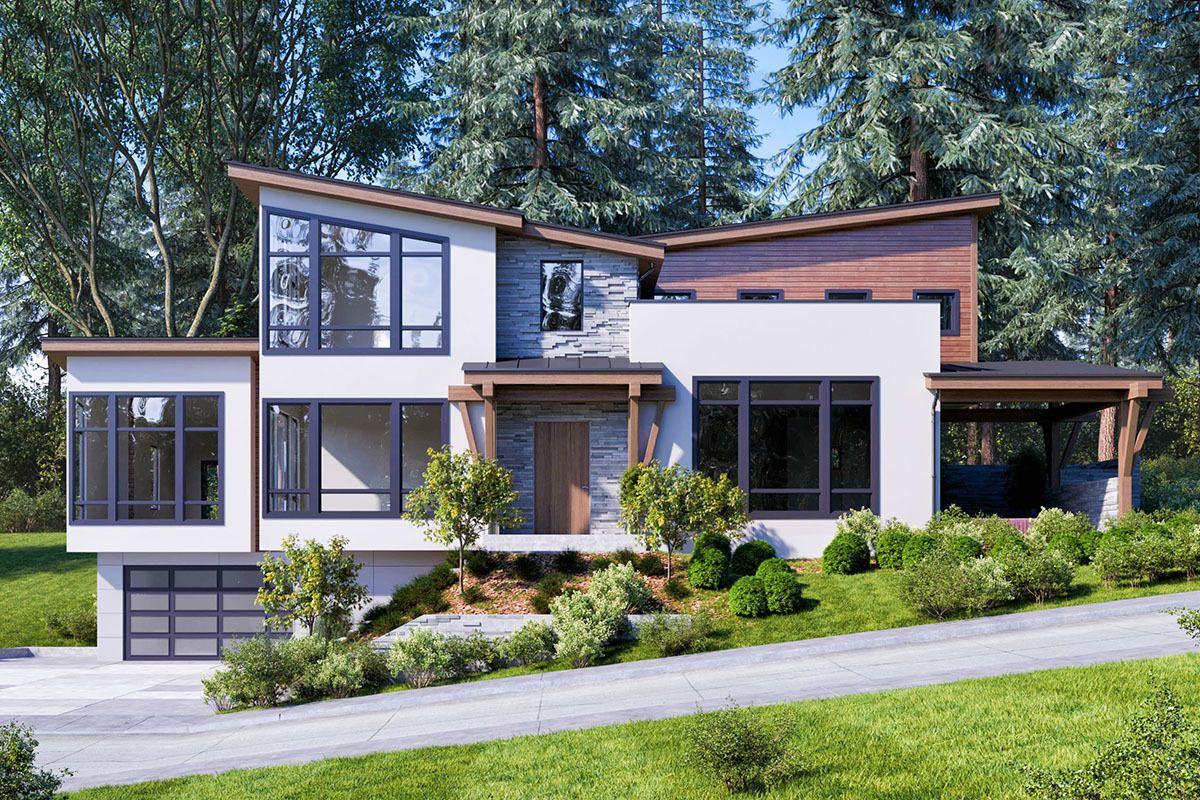 Plan 666039raf Modern Home Plan With Drive Under Garage Modern
