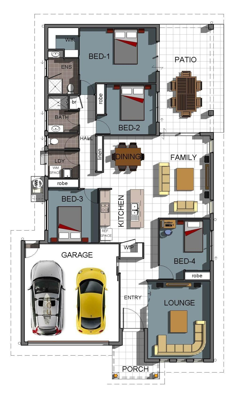 Gradyhomes Floor Plan 4 Bedrooms 2 Bathrooms Double