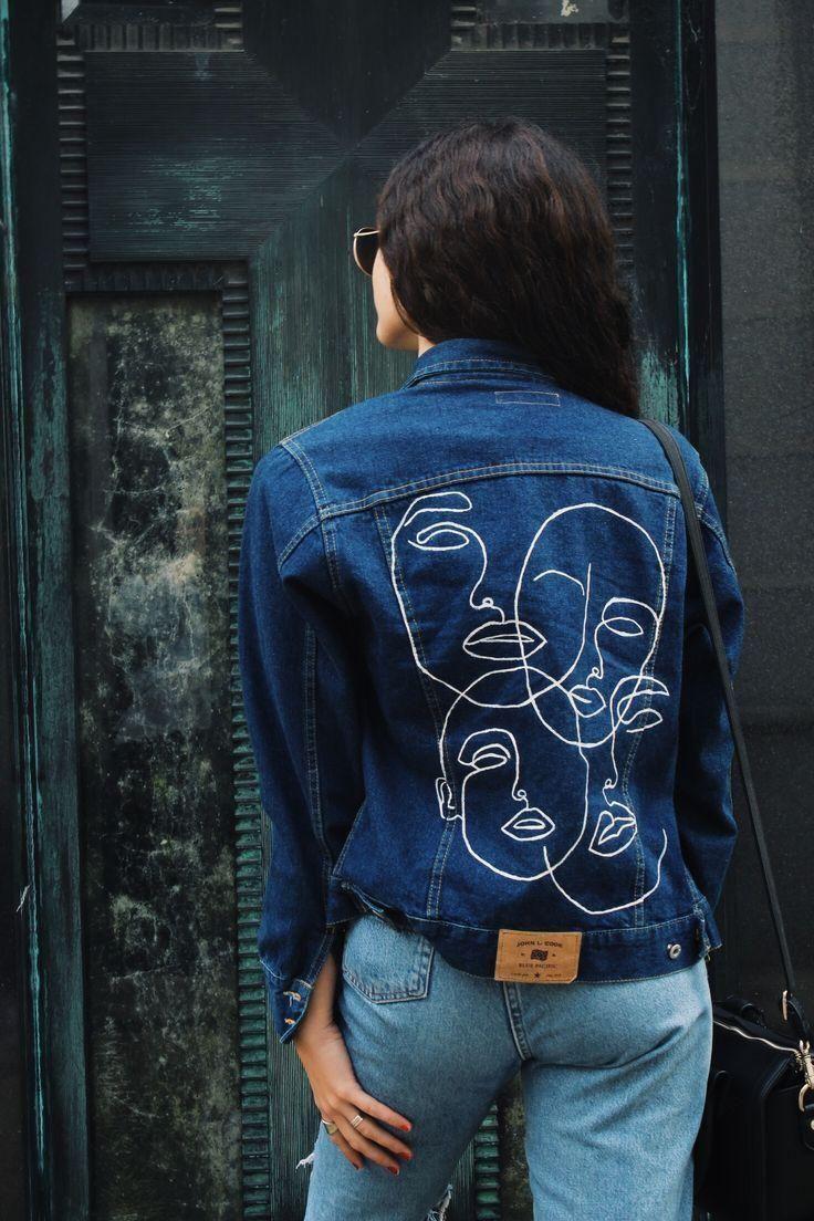 Diy Painted Denim Jacket En 2020 Chaqueta De Mezclilla Ropa Reciclada Confeccion De Ropa