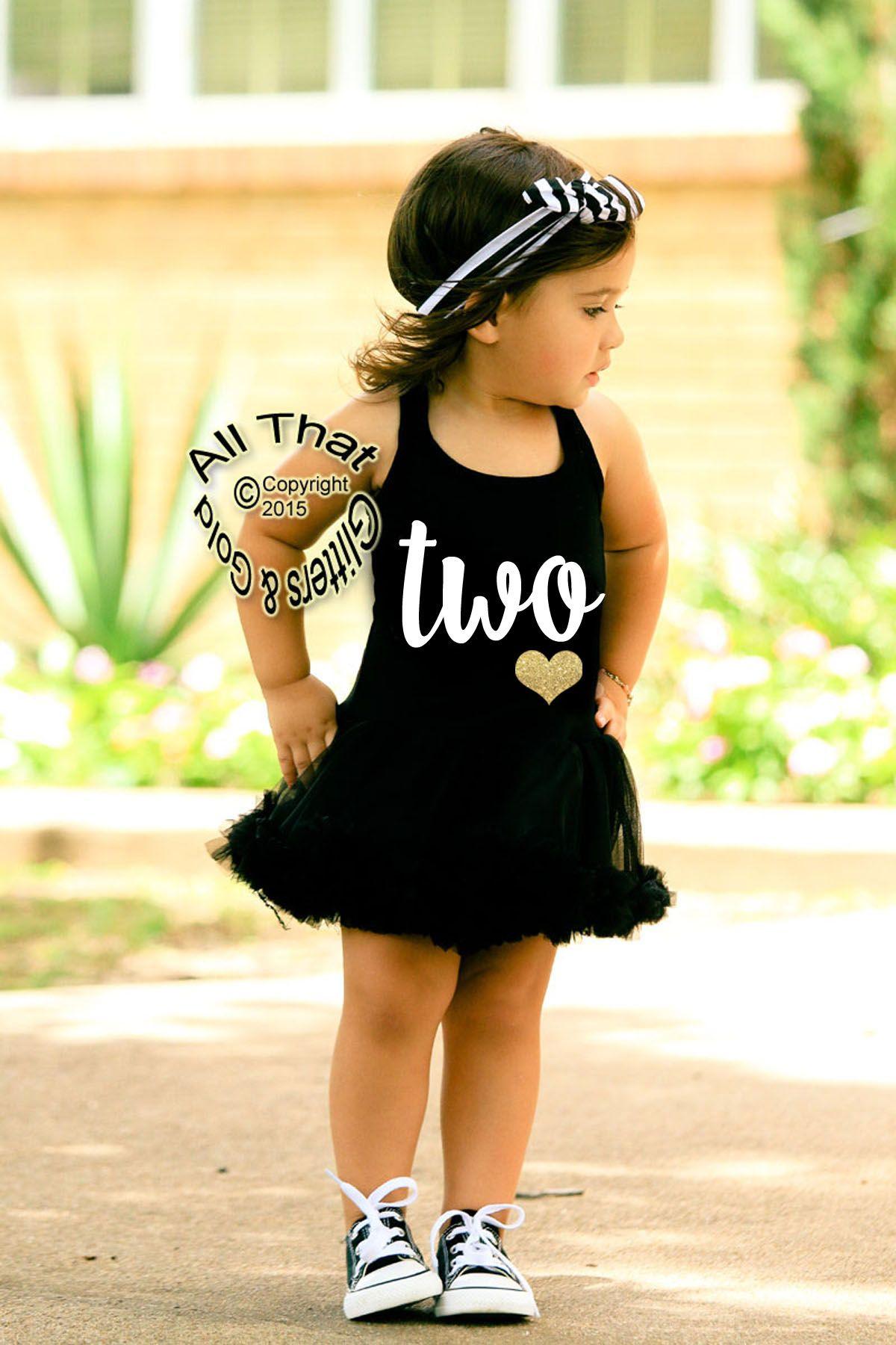 Black and White Glitter Two 2nd Birthday Tutu Dresses For 2 Year Old Toddler  Girls - Girls Birthday Outfit, 2nd Birthday Shirt, ANY AGE, Girls Birthday