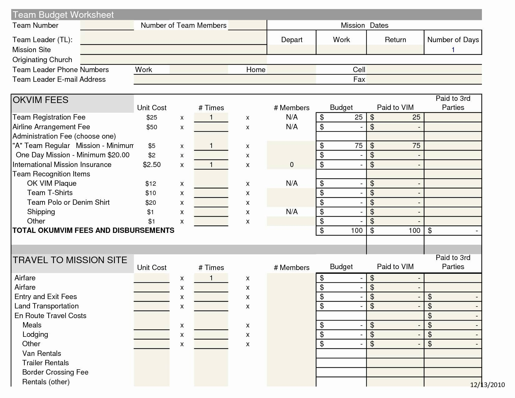 The Terrific Church Budget Spreadsheet Template Sample
