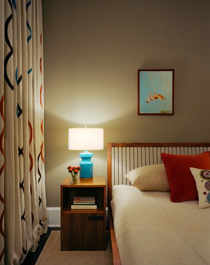 Bedroom Designed The Bed With A Felted Fabric Headboard And Curtains Are Custom
