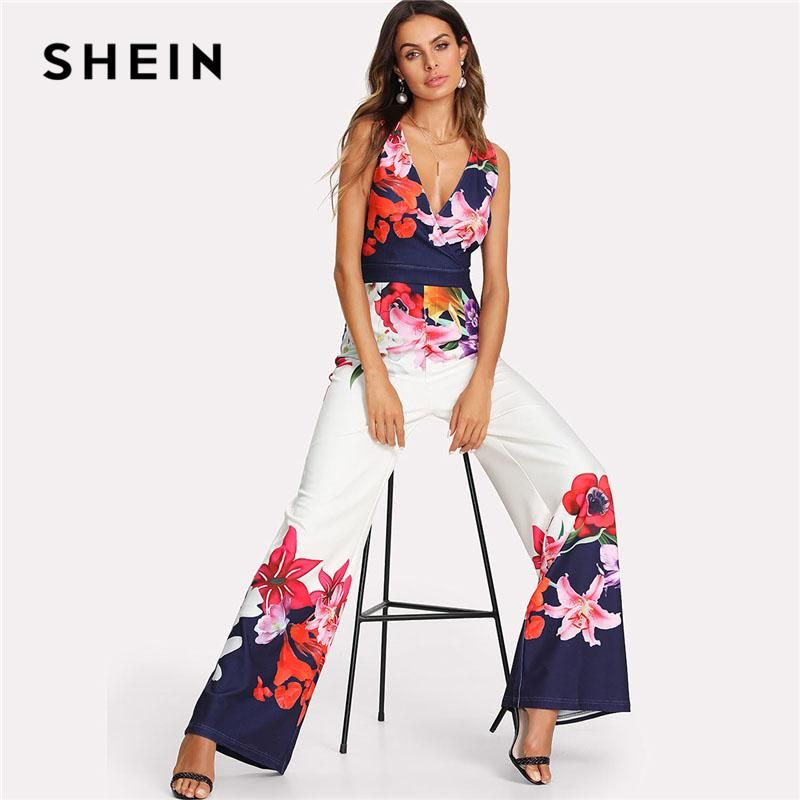 bc7d7059107 SHEIN Flower Print Zip Back Sleeveless Jumpsuit Elegant 2018 New Women Deep  V Neck Sleeveless High Waist Wide Leg Jumpsuit