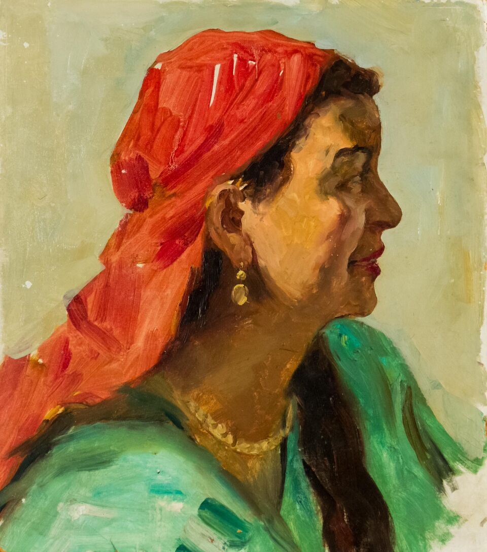 Nurmuhametov, Rashid Mukhametbareyevich Sketch of the Girl in the Red Scarf 14¼'' x 12½'', (36 x 32 cm) 1958, Oil on Board McCarthey Gallery