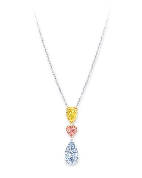 fdf4d3ee15f0f Graff's coloured diamond pendant featuring a Fancy Vivid Yellow pear ...