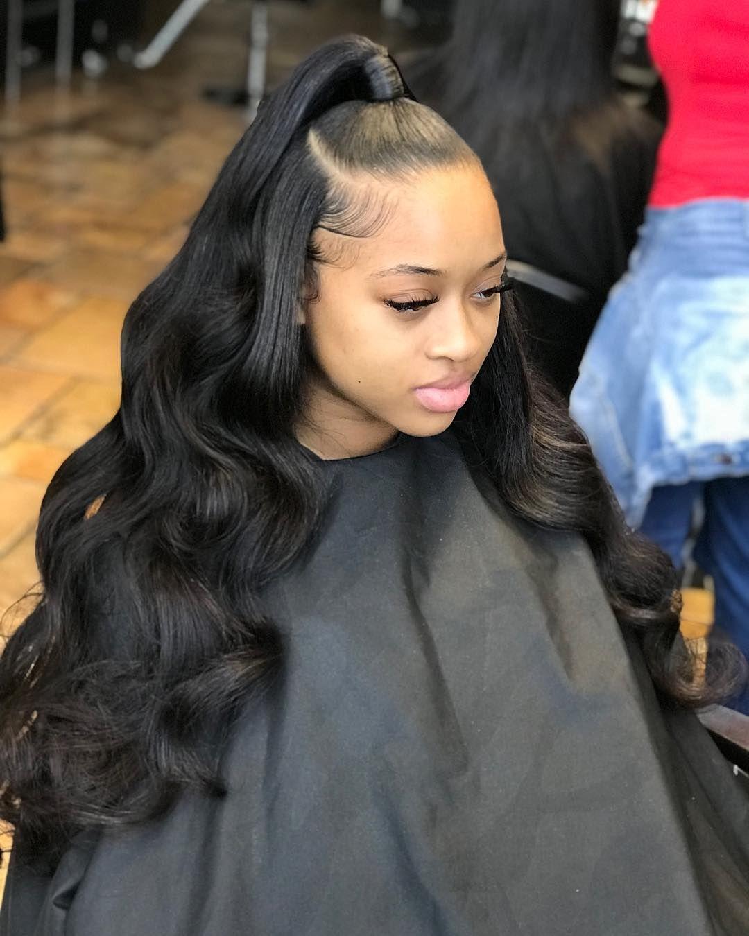"Glue In Weave Hairstyles : weave, hairstyles, Faith.🙏🏽, Instagram:, ""Half, Quick, Weave, Ponytail, Hair,, Hairstyles,, Waves"