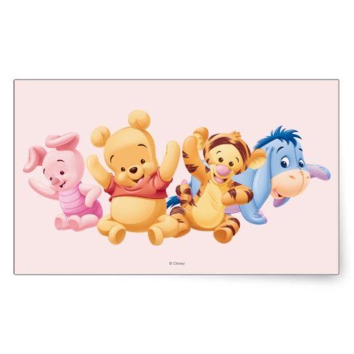 Baby Winnie The Pooh Friends Rectangular Sticker Zazzle Com