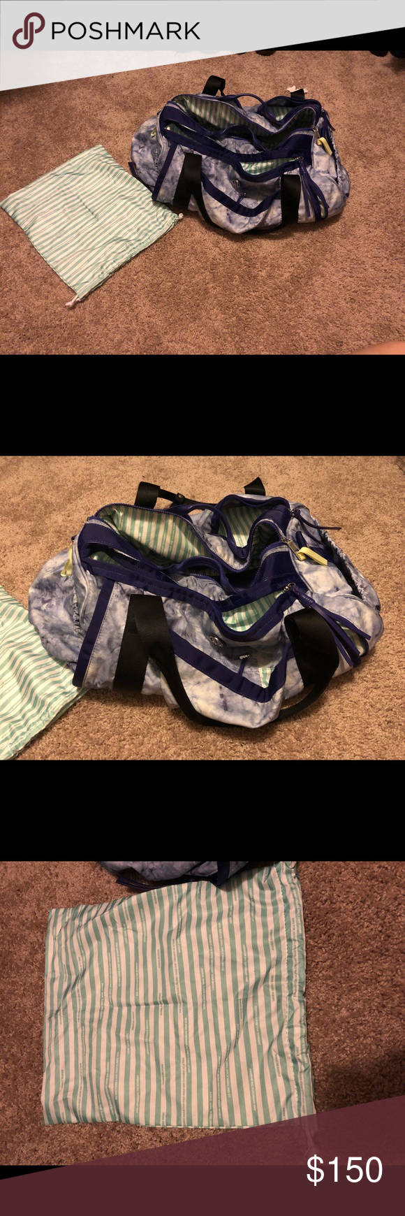 e16316d6c255 LuLu Lemon tie dye Gym Bag LuLu Lemon Tie dye gym bag with small garment bag.  Few marks on bottoms from being placed on ground.