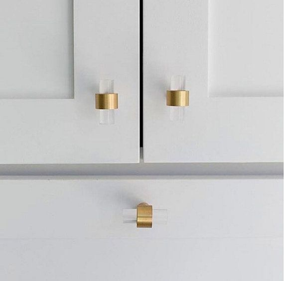 Polished Or Satin Brass Drawer Pulls   Lucite Cabinet Handles