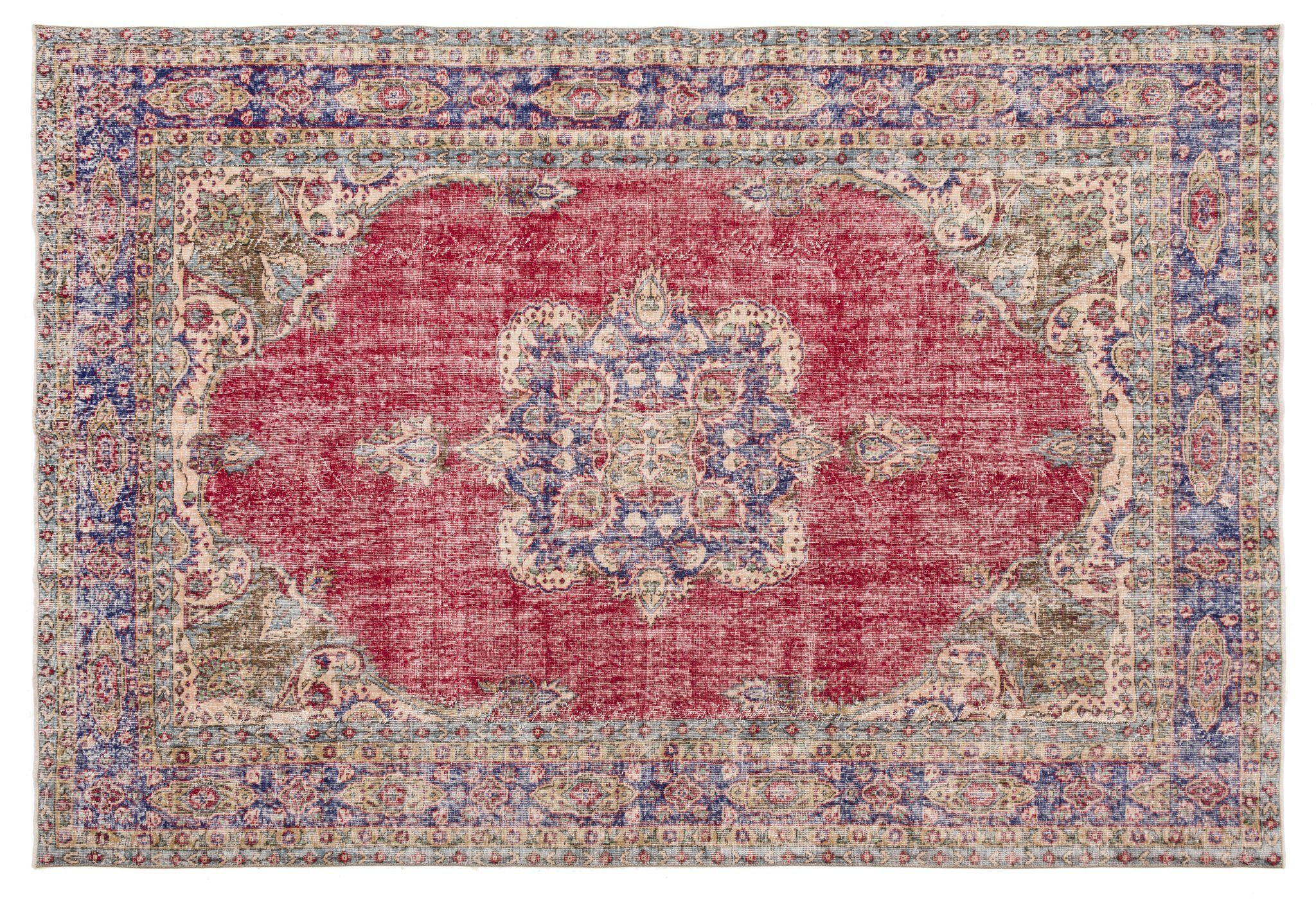 Ashling Red Persian Vintage Handmade Oriental Wool Area Rug Revival Rugs Wool Area Rugs Persian Motifs Isparta