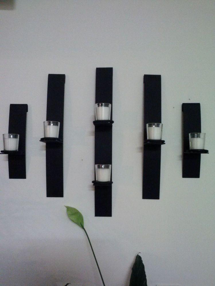 Metal arte moderno de montaje en pared vela votiva - Candelabros de pared ...
