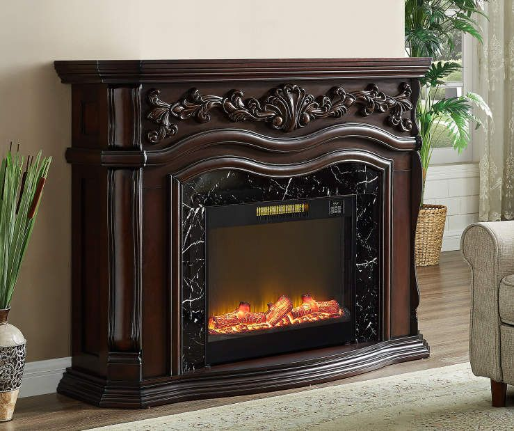 Electric Fireplace, Dark Cherry Wood Electric Fireplace