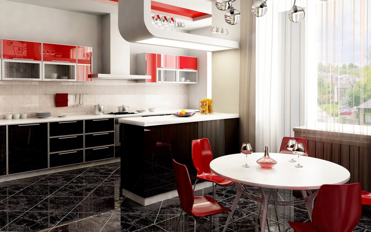 Impressive Designs Red Black. Impressive Smart Red, Black And White Dining  Room With Kitchen