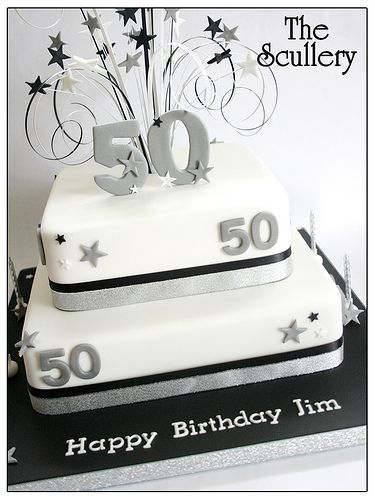 Square Birthday Cake 50th For Women Man Mens