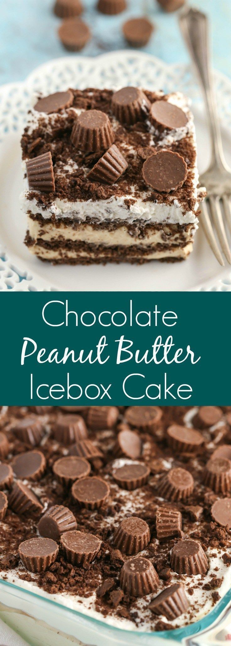 This Chocolate Peanut Butter Icebox Cake is an easy and delicious no-bake dessert. Layers of chocolate graham crackers and a creamy peanut butter filling are topped off with delicious whipped cream and mini peanut butter cups! You just can't go wrong with chocolate and peanut butter.