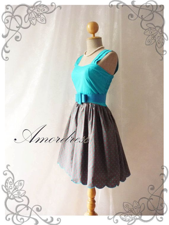 My Party Frock  Blue Dress with Polka Dot Dress Two by Amordress, $39.00