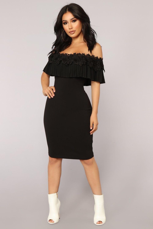 Black Dress Fashion Nova Dresses, Black dress, Off