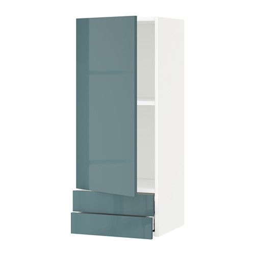 Best Metod Wall Cabinet With Door 2 Drawers White Kallarp Grey 640 x 480