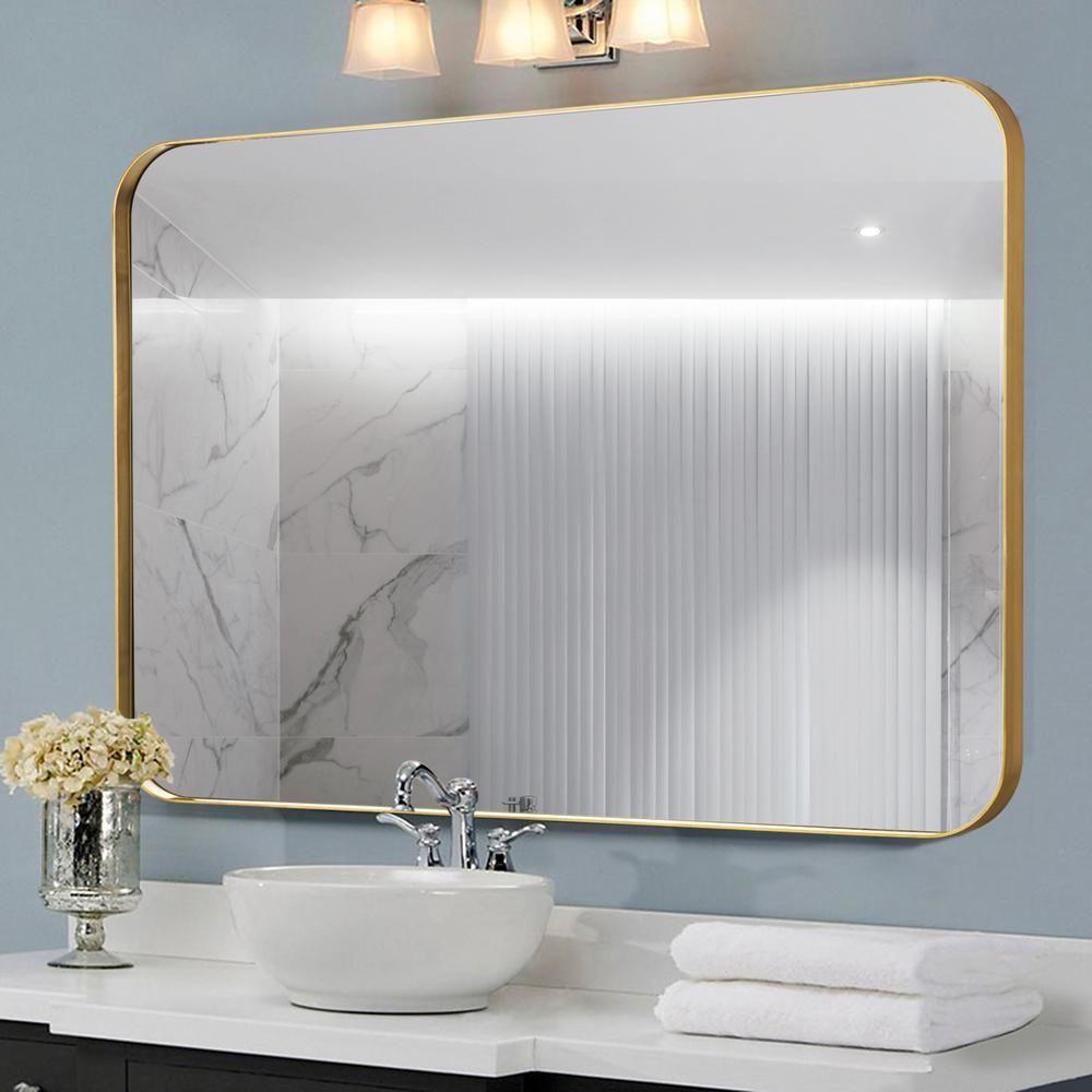 Neu Type Medium Rectangle Brass Hooks Modern Mirror 31 5 In H X 23 6 In W Jj00905zzq The Home Depot Wall Vanity Bathroom Mirror Modern Mirror