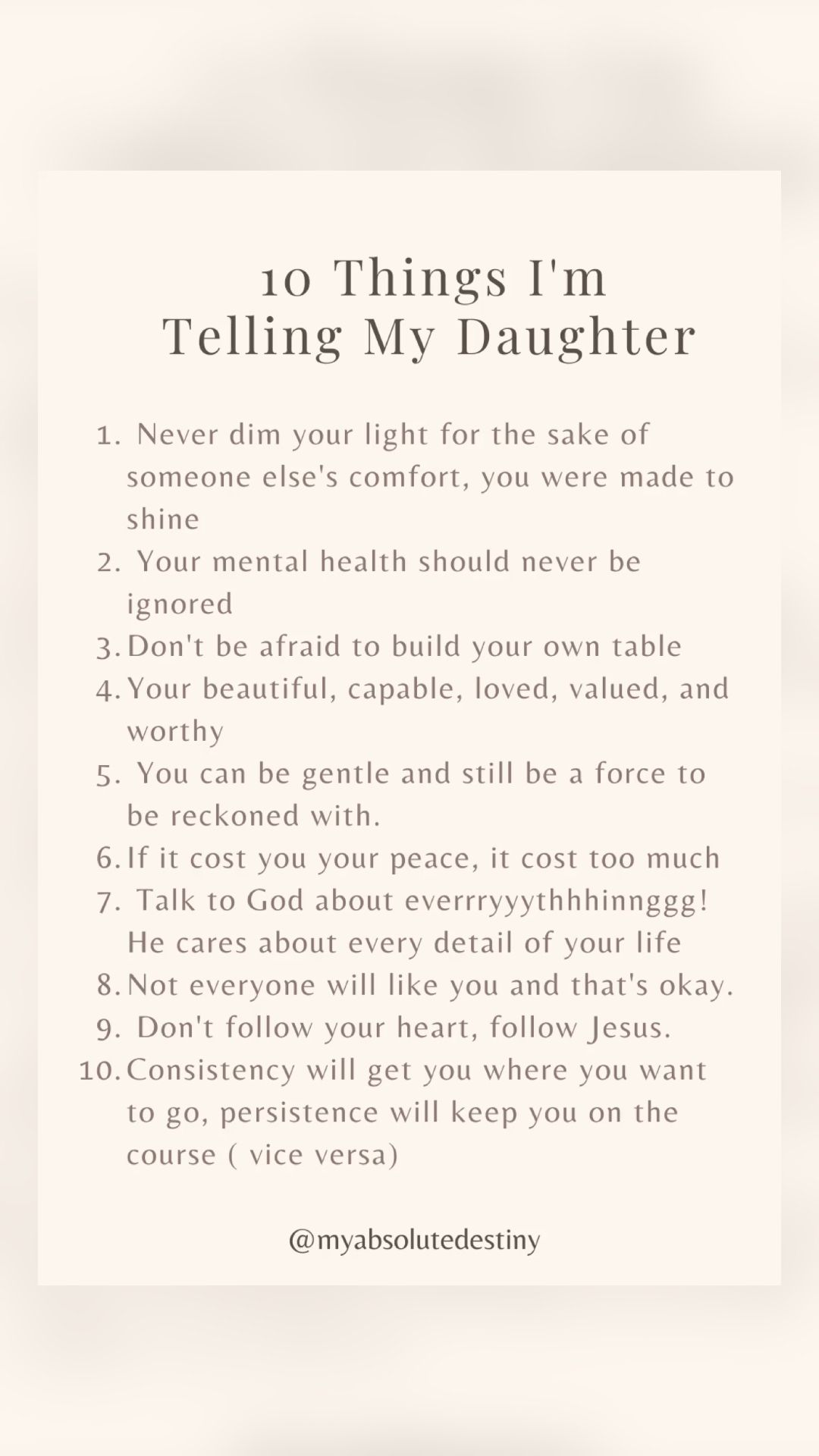 Advice to my Daughter