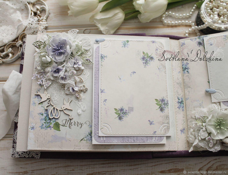 """Альбом для фото """"Свадебный альбом"""" подарок фиолетовый ..."""