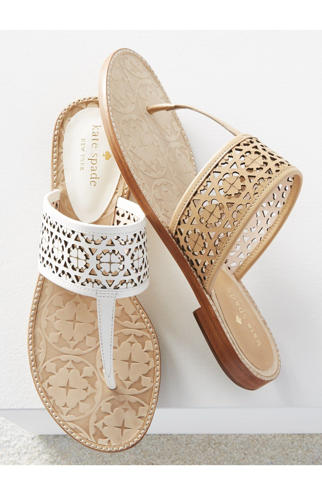 Adoring these leather Kate Spade sandals with clean laser-cut patterns.