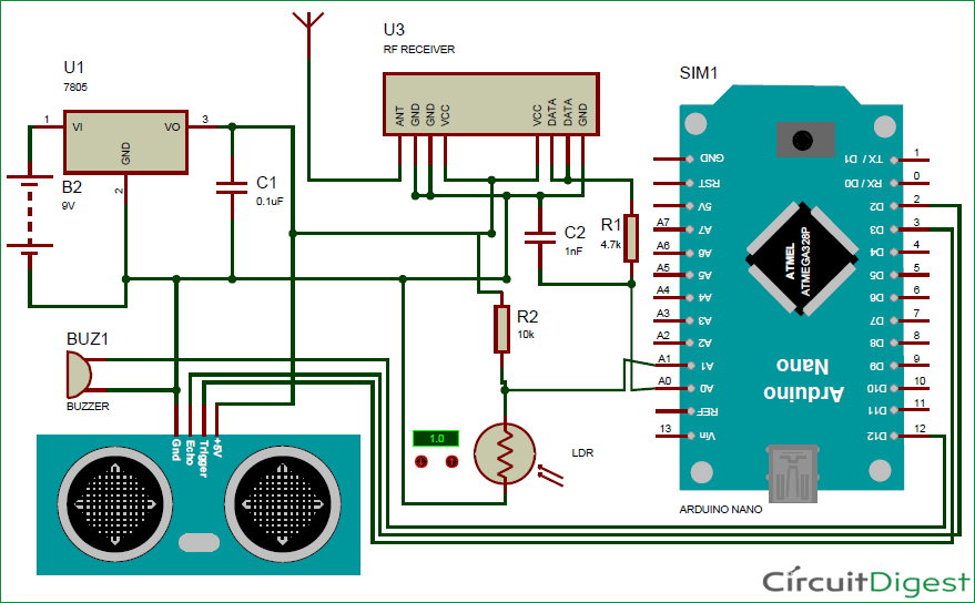 circuit diagram of arduino based blind stick project