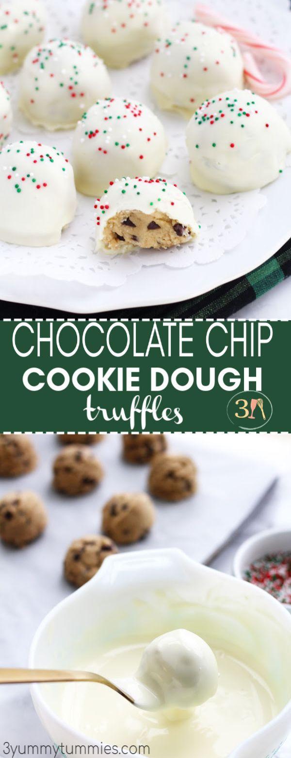 These Chocolate Chip Cookie Dough Truffles Require No Baking And Are So Chocolate Chip Cookie Dough Truffles Chocolate Chip Cookie Dough Cookie Dough Truffles