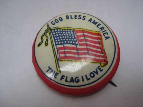 Flag God Bless America Pinback Button The by vintagejewelryalcove