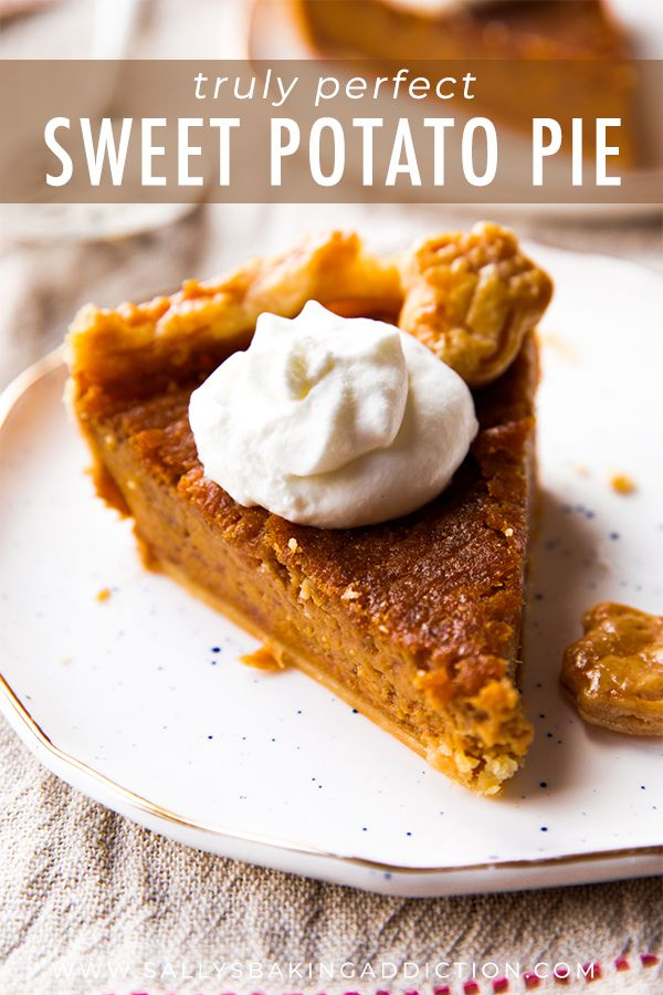 The most flavorful brown sugar and cinnamon spiced sweet potato pie! Easy homemade pie recipe on sallysbakingaddiction.com #sweetpotatopie